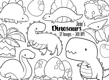 Kawaii Dinosaur Stamps Clipart