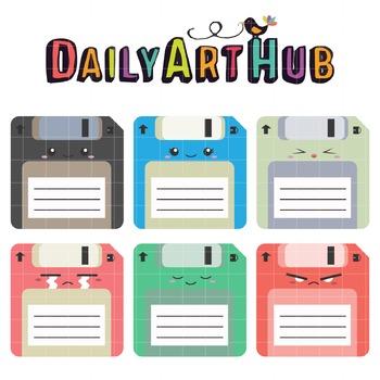 Kawaii Diskets Clip Art - Great for Art Class Projects!