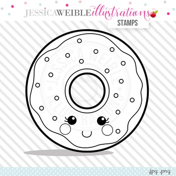 Kawaii Donut Cute Digital B&W Stamp, Cute Donut Line Art, Blackline