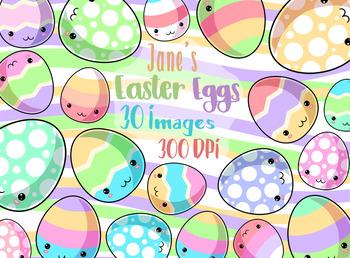 Kawaii Easter Eggs Clipart