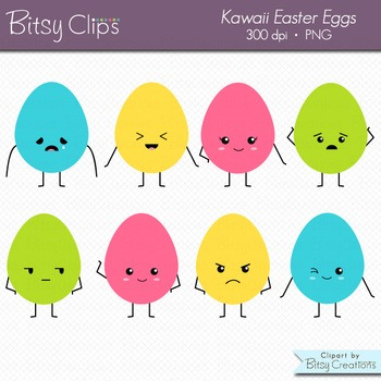 Kawaii Easter Eggs Clipart Commercial Use Clip Art - Easte