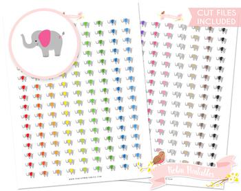 Kawaii Elephant Printable Planner Stickers