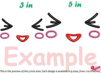 Kawaii Expression Embroidery Design emoticons face smile cartoon Faces 184b