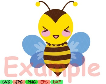 Kawaii Faces BEE Clip Art animal Party happy smile sweet birthday svg props 5SV