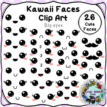 Kawaii Faces: Big Eyes Clip Art