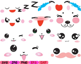 Kawaii Faces Chinese Japan Asian china clipart svg happy kid smile props toy 7sv