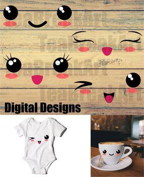 Kawaii Faces Digital Cutting File ClipArt baby onesie digital design 722C