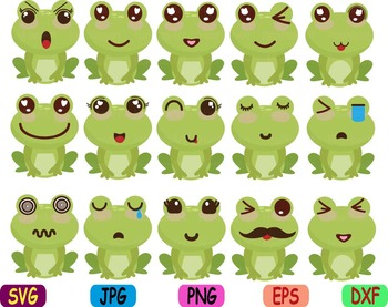 Kawaii Faces Frog Clip Art animal Party happy smile sweet birthday svg props 86s