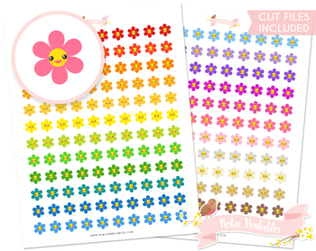 Kawaii Flower Printable Planner Stickers