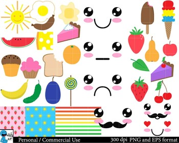 Kawaii Food Set Clipart Digital Clip Art Graphics 108 images cod74