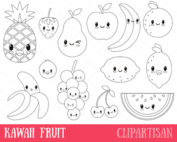 Happy Fruit Clip Art Coloring Activity