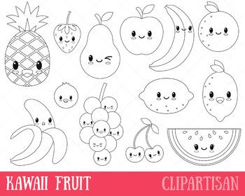Happy Fruit Clip Art, Coloring Activity