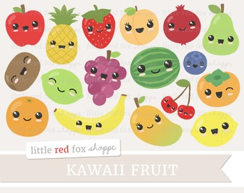 Kawaii Fruit Clipart; Apple, Pear, Peach, Banana, Pineappl