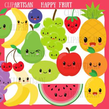 Happy Fruit Clip Art, Kawaii Fruit, Healthy Foods by