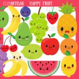 Happy Fruit Clip Art, Kawaii Fruit, Healthy Foods