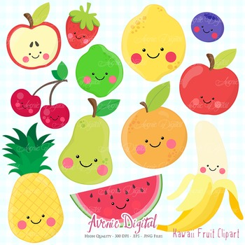 Kawaii Fruit Clipart Scrapbook Commercial Use. Cute fruits healthy food graphics