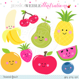 Kawaii Fruit Cute Digital Clipart, Smiling Fruit Clip Art
