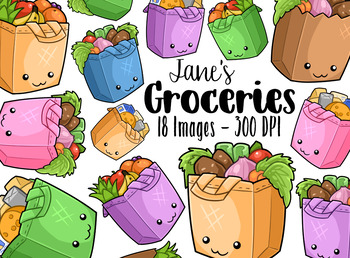 Kawaii Groceries Clipart