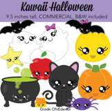 Kawaii Halloween Clipart includes BW CU Okay
