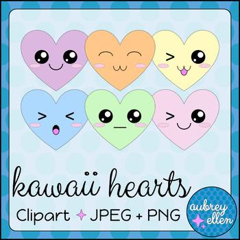 Kawaii Hearts Valentine's Day Clipart