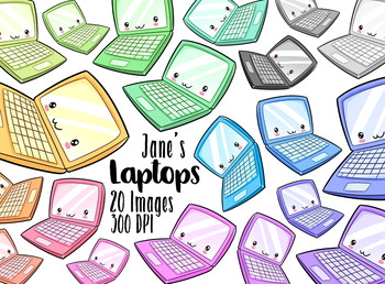 Kawaii Laptops Clipart