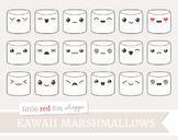 Kawaii Marshmallow Clipart; Cute, Emoji, Dessert
