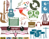 Kawaii Music japan clip art svg Splited Rock audio hero guitar song jazz -9sv