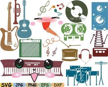 Kawaii Music japan clip art svg Splited Rock audio hero guitar song jazz -9sv