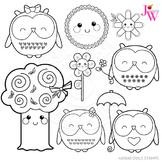 Kawaii Owls Cute Digital B&W Stamps, Owl Line Art, Blackline