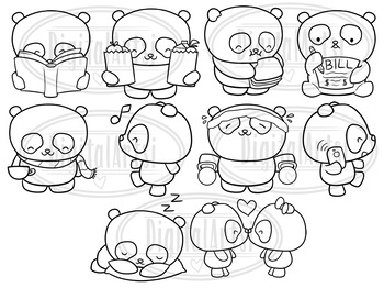 Kawaii Panda Stamps Clipart