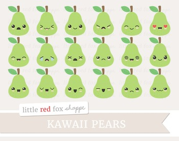 Kawaii Pear Clipart; Fruit, Cute, Happy, Face