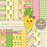 Kawaii Pineapples Digital Papers and Clipart