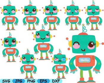 Kawaii Robots face props Japanese clipart svg props Toys toy robot back -100s