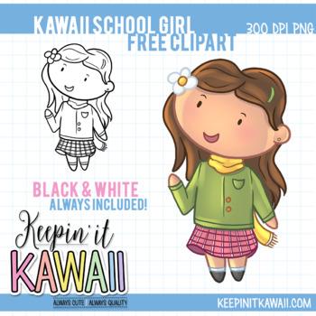 Kawaii School Girl - Free Clip Art - Cute School Girl Clipart