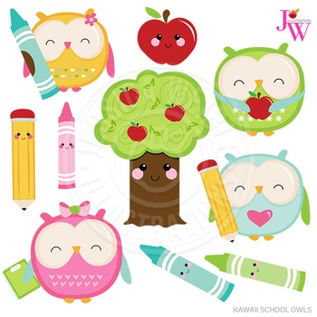 Kawaii School Owls Cute Digital Clipart, School Owl Graphics