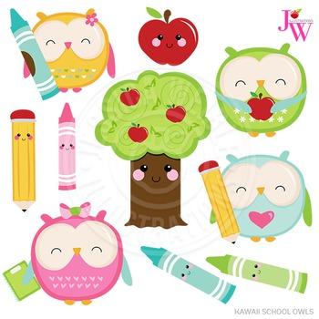 Kawaii School Owls Cute Digital Clipart, School Owl Graphics