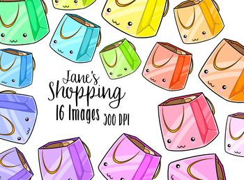 Kawaii Shopping Bags Clipart