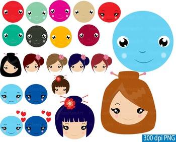 Kawaii Smiley Face Feelings Emoji Clip art girl boy school teacher Japanese -101