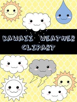 Kawaii Style Weather Clip art!