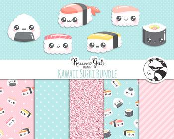 Kawaii Sushi Bundled Clipart and Digital Paper Set