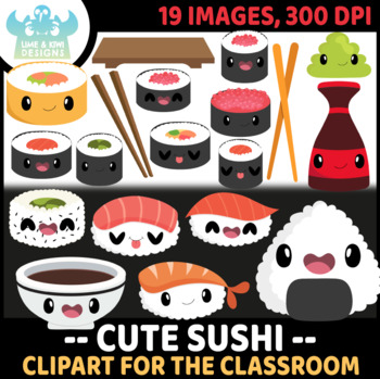 Kawaii Sushi Clipart, Instant Download Vector Art, Commercial Use Clip Art, Cute