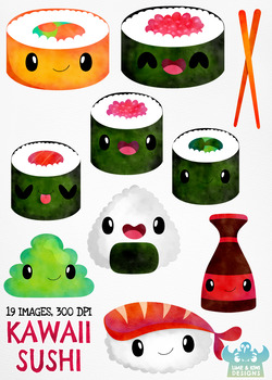 Kawaii Sushi Watercolor Clipart, Instant Download Vector Art, Commercial Use