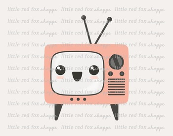 Kawaii TV Clipart; Television, Cute, Happy Face, Emoji