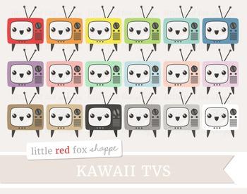 Kawaii TV Clipart; Television, Cute, Happy Face, Emoji
