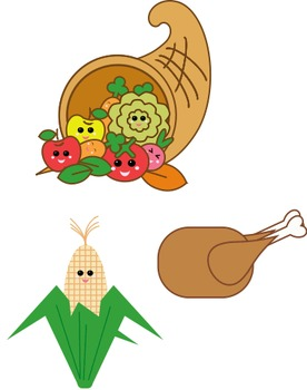 Kawaii Thanksgiving Clipart - Multiple Files - Cornucopia, Corn and Turkey
