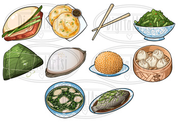 Kawaii Traditional Chinese Food Clipart