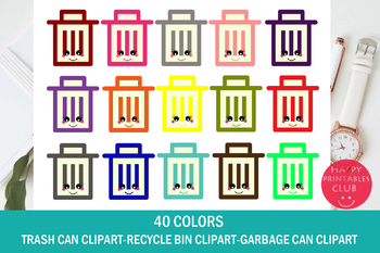 Kawaii Trash Can Clipart-Garbage Bin Clipart-Recycle Bin Clipart-40 Colors