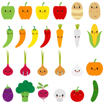 Cute Vegetables Clipart / Kawaii Vegetable Clip Art / Happy Veggies