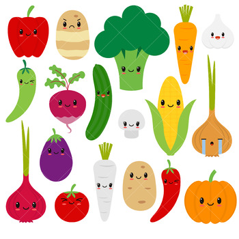 Happy Vegetables Clip Art, Kawaii Veggies by ClipArtisan   TpT (350 x 350 Pixel)