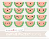 Kawaii Watermelon Clipart; Fruit, Cute, Happy, Face